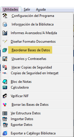 Reordenar base de datos