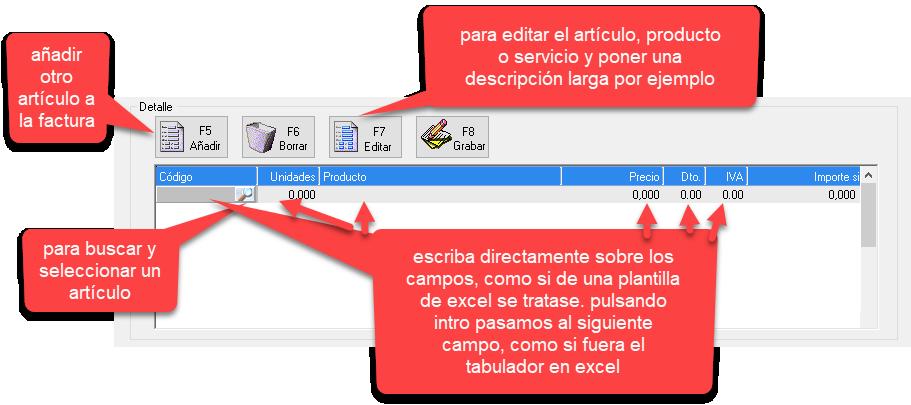 Como hacer una factura con el programa de facturación y gestión xl: personalizar el detalle de la factura