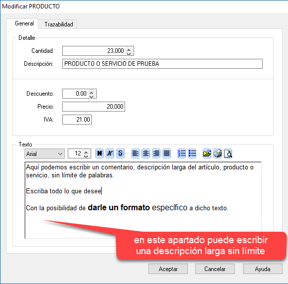 Como hacer una factura con el programa de facturación y gestión xl: personalizar la descripción larga del concepto