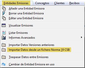 Importar fichero norma 19 csb